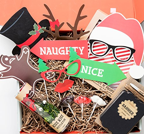 Holiday Photo Booth Selfie Gift Box- Themed Props for Festive Holiday Pic's Including Moustache Lollipops, Mistletoe & Chalkboard -Say Cheese! Festive Family Portraits Make New Years Memories (Portrait Packaging Boxes compare prices)