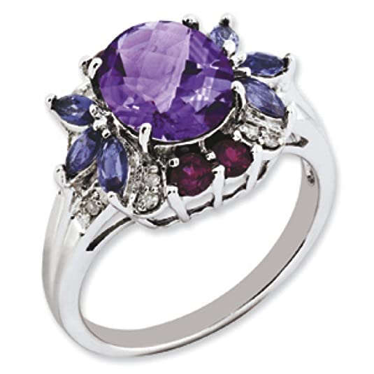Sterling Silver Rhodolite Garnet Amethyst Iolite and Rough Diamond Ring - Ring Size Options Range: L to T