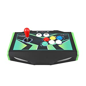 EG STARTS 2 Player Arcade Joystick DIY Parts 2X USB Encoder + 2X Ellipse Oval Joystick Hanlde + 18x American Style Arcade Buttons for PC, MAME, Raspberry Pi, Windows System (Black & White) (Color: Black & White)