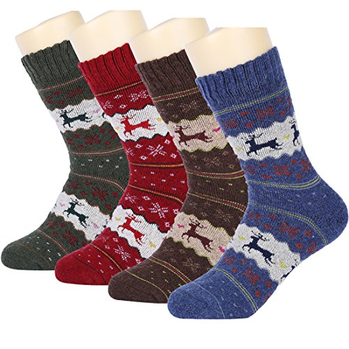 HSELL-Women-Wool-Socks-Christmas-Deer-Pattern-Winter-Warm-Fuzzy-Socks-4-Packs