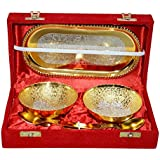 Corporate Diwali Gift;IZOR Gold & Silver Plated Brass Bowl,Spoon & Tray Set Of 5 Items