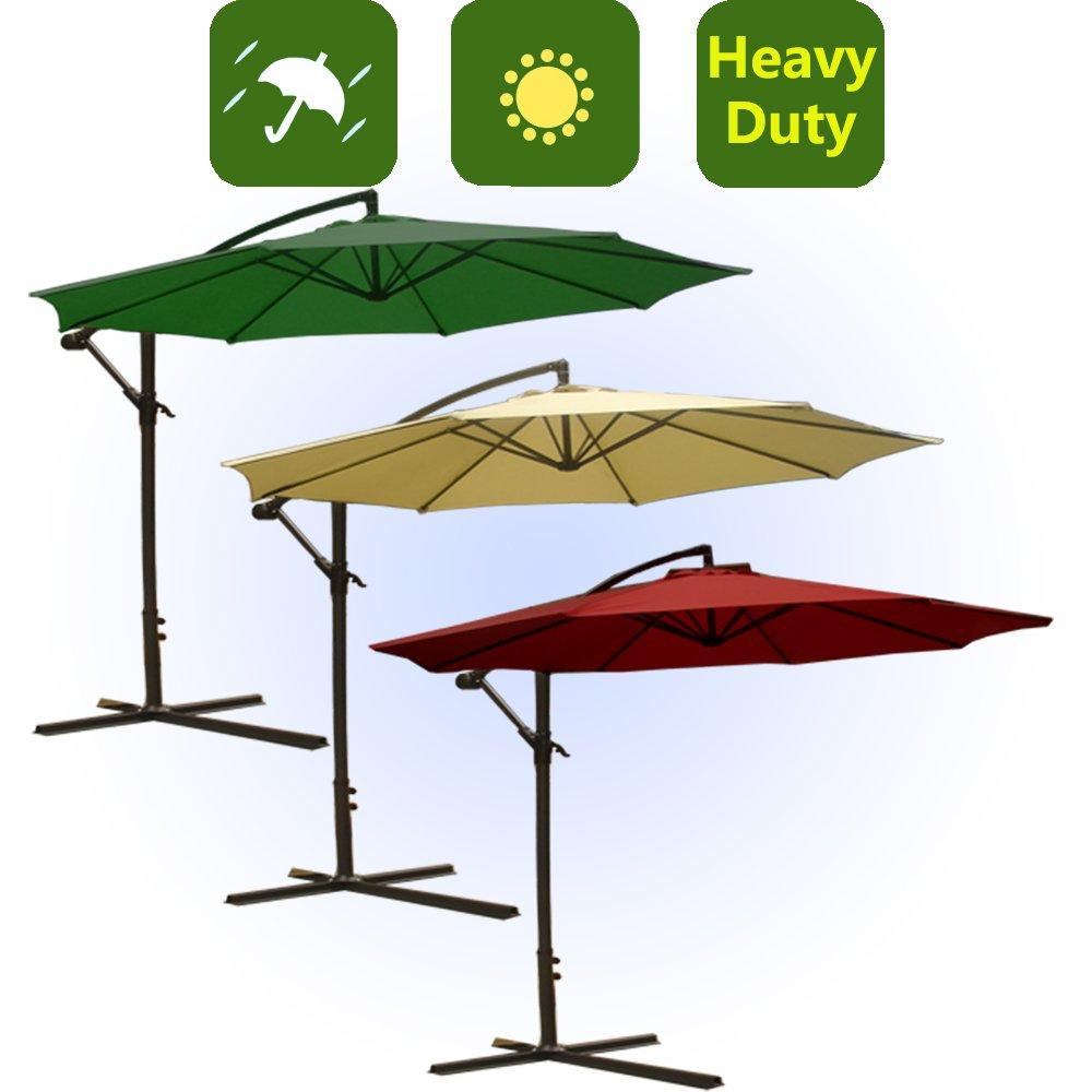 10' Gartenschirm Ampelschirm Schirm Inkl. Schirmständer Sonnenschirm (Creme--GWU30C)