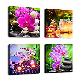 Canvas Wall Art Decor SPA Stone Green Bamboo Pink Waterlily and Frangipani Pictures - 4 Panels Large Modern Zen Canvas Painting Prints Giclee Art for Home Office and Kitchen Framed Ready to Hang