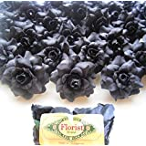 "(100) Silk Black Roses Flower Head - 1.75"" - Artificial Flowers Heads Fabric Floral Supplies Wholesale Lot for Wedding Flowers Accessories Make Bridal Hair Clips Headbands Dress"