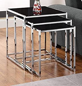 Kale 3 Pc Glass Nesting Tables Set