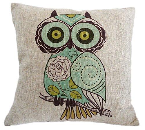 KAIKSO-IN Baumwolle und Leinen mit Kissen Taille Kissen (Big eyes owl)