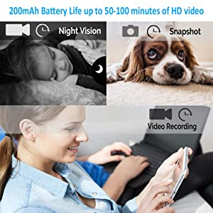 Spy Camera Mini Hidden CameraLuckmall HD 1080p Small Portable Nanny Cam  Covert Wireless Hidden Spy Cop Cam Video Recorder with Night Vision Motion Activated for Indoor/Outdoor  (Color: Round updated)