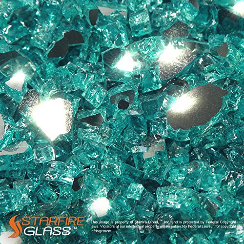 Starfire Glass® 10-Pound Fire Glass with Fireplace Glass and Fire Pit Glass, 1/4-Inch, Caribbean Blue (Reflective Supreme) (Gas Fireplace With Glass Rocks compare prices)