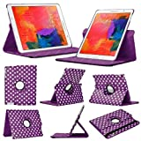 Stuff4 Polka Dot Designed Case with 360 Degree Rotating Swivel Action and Screen Protector/Stylus Touch Pen for 8.4 inch Samsung Galaxy Tab Pro T320/T321/T325 - Purple/White