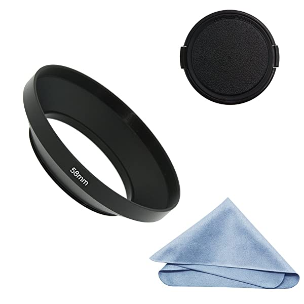 SIOTI Camera Wide Angle Metal Lens Hood with Cleaning Cloth and Lens Cap Compatible with Leica/Fuji/Nikon/Canon/Samsung Standard Thread Lens(58mm) (Color: Wide Angle, Tamaño: 58mm)