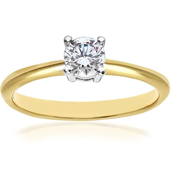 Naava 18ct 4 Claw Engagement Ring, G/VS2 EGL Certified Diamond, Round Brilliant, 0.32ct