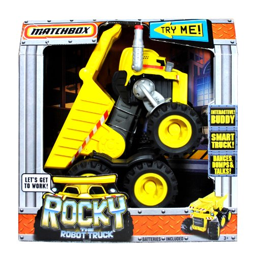 Matchbox Year 2009 Interactive Smart Truck Buddy that Dance, Dumps and Talks - ROCKY The Robot Truck with Audio Sensor, LED Lights, Speaker, Direction Sensor, Working Dump Bed and Smokestack Activation (Rocky Dump Truck compare prices)