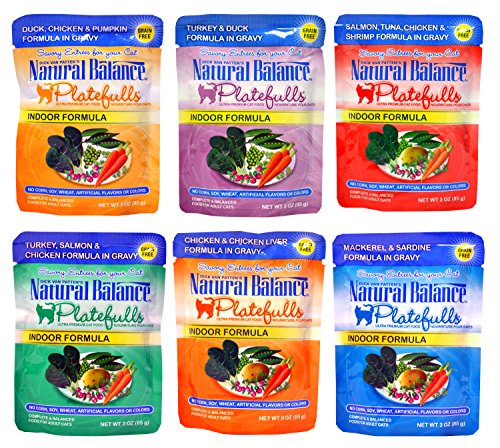 Natural Balance Grain-Free Platefulls Indoor Formula Cat Food Variety Pack - 6 Flavors - 3 Ounces Each (6 Total Pouches)