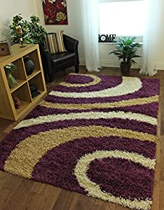 Helsinki Easy Clean Purple & Beige Funky Swirl Pattern Shaggy Rug 1888   4 Sizes Available       review