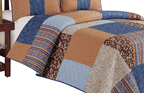C & F Enterprises Bridget Quilt, Twin, Blue/Brown