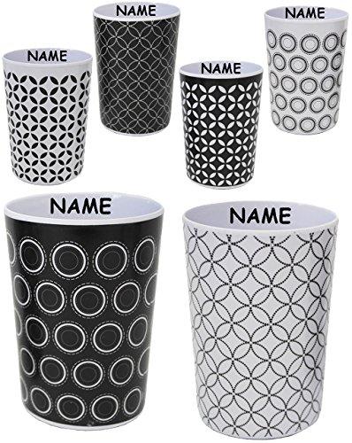 2-Stck--3-in-1-Trinkbecher-Zahnputzbecher-Malbecher-Becher-Retro-Design-Muster-schwarz-wei-incl-Name-350-ml-Trinkglas-aus-Kunststoff-Plastik-Melamin-fr-Erwachsene-Kinder-Dekor-Grill-buntes-Campingbech