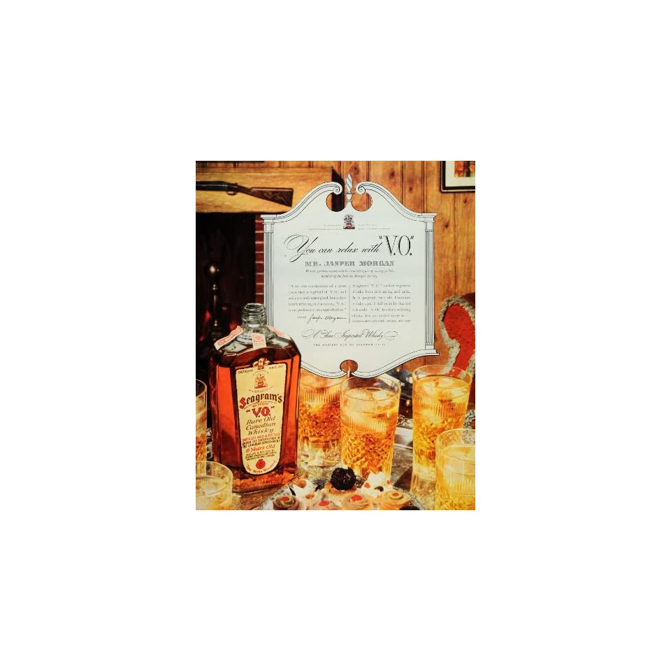 1937 Ad Seagrams Canadian Whisky Jasper Morgan Liquor   Original Print Ad