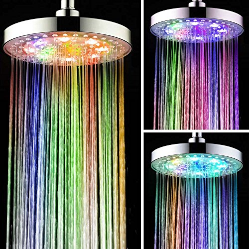 "SWE 8"" Inch Round Bathroom LED Light Rain Top Shower Head 7 Colors Automatic Changing LED Overhead Shower Head Water Glow Chrome Finish"