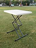 """Amaze"" (2' x 1.5') Adjustable Variable Height outdoor picnic garden folding table (White)"