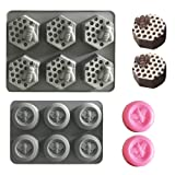 6 Cavity Bee Honeycomb 3D Soap Molds Silicone Mould Tray for Homemade DIY Making Cake Mousse Jelly Candy Chocolate 2Pcs Gray