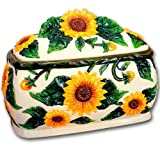 SUNFLOWERS 3D Large Ceramic BREAD BOX new