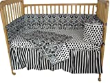 Tadpoles Damask 4-Piece Crib Set, Black/White