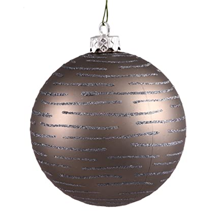 Pewter Gray Matte Glitter Striped Shatterproof 4.75-inch Christmas Ball Ornament by VCO
