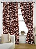Story@Home 5 feet Set of 2 happiness 2 Piece happiness Dots Pattern Polyster Curtains Brown