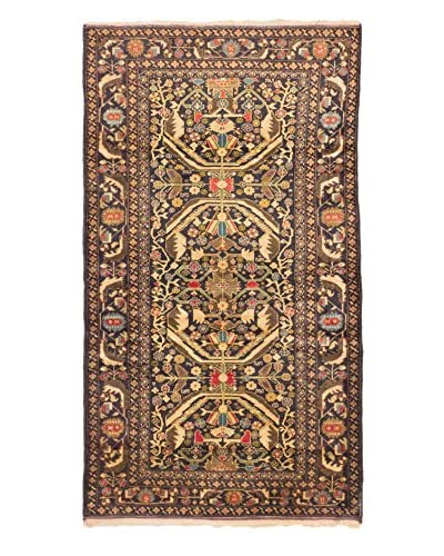 Hand-Knotted Royal Baluch Wool Rug, Dark Navy/Khaki, 4' x 7'