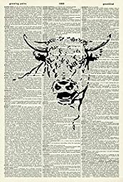 BULL\'S HEAD ART PRINT - VINTAGE ART PRINT - Animal Art Print - BLACK & WHITE ART PRINT - Illustration - Farmyard Picture - Vintage Dictionary Art Print - Wall Art - Book Print 187D