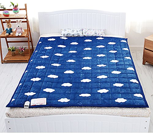 New Electric Heated Blankets Microfiber Navy Color Warm Mattress Pad 110V- 240V Combination L : For Double Bed Size: 53X71Inch (135X180Cm) Lower Energy Cost