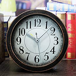FirstDecor 5 inch black Vintage Wood Pattern Analog Table Clock Arabic numbers Silent Non-ticking Quartz Desk Clock Alarm Clock Round Desk Clocks 3D Clock Christmas gift
