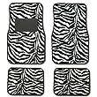Zebra Black & White Carpet Car Floor Mats