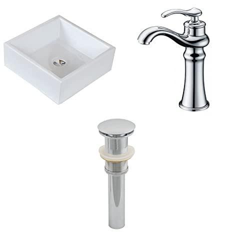 "Jade Bath JB-15395 15"" W x 15"" D Square Vessel Set with Deck Mount CUPC Faucet and Drain, White"