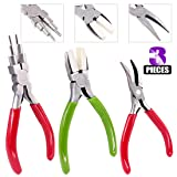 Swpeet 3Pcs Jewelry Pliers Kit, Including 6-in-1 Bail Making Looping Pliers, Artistic Wire Nylon Jaw Pliers and Bent Nose Micro Pliers for Jewelry Making and Other Crafts