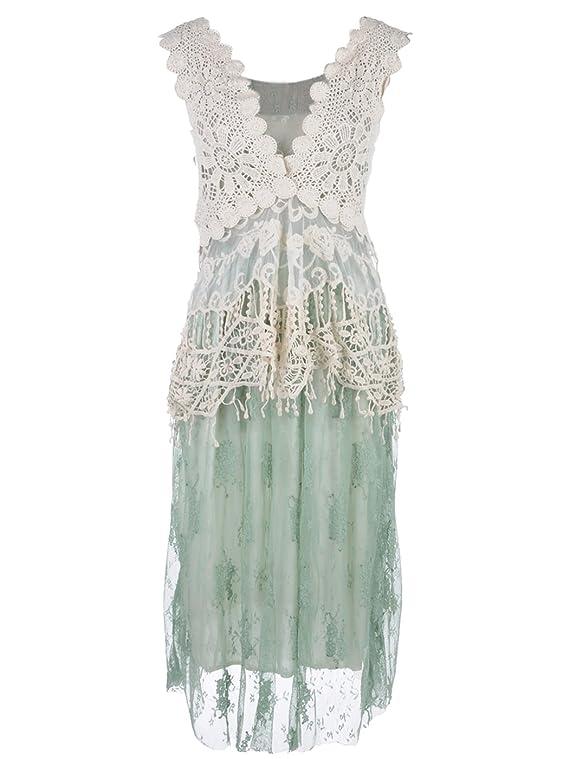 Anna-Kaci Granny Influence Embroidery Detail Lace Ruffle Dress