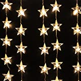 AGPtek® 110V 1.5M(W) x 1M(H) Decorative LED Curtain Light 54 LED for Christmas Wedding Party Holiday Home Garden Decoration - Warm White Star Curtain