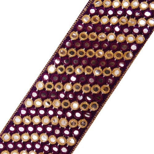 Purple Fabric Ribbon Trim Thread Embroidered Sequins Border Lace Sewing 3 Yd