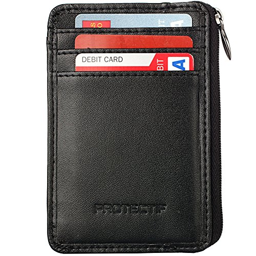 Rfid Blocking Sleeves Front Pocket Wallet for Men, Secure Sleeve Mini Card Holder with Zipper and Id Window, Genuine Leather Durable Slim Wallets (Rfid Container compare prices)