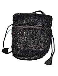 Raun Harman Beaded Pull String Fashionable Black(Base)-Black(Bead) Bag