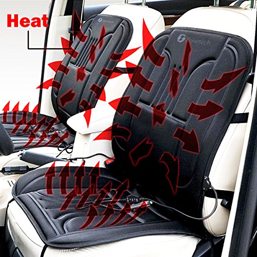 Zone Tech Car Heated Seat Cover Cushion Hot Warmer - 2-Pack 12V Heating Warmer Pad Cover Perfect for Cold Weather and Winter Driving (Heated Seat Car compare prices)