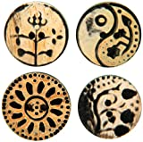 Handmade Horn Buttons-Circle Flower Carvings 4/Pkg