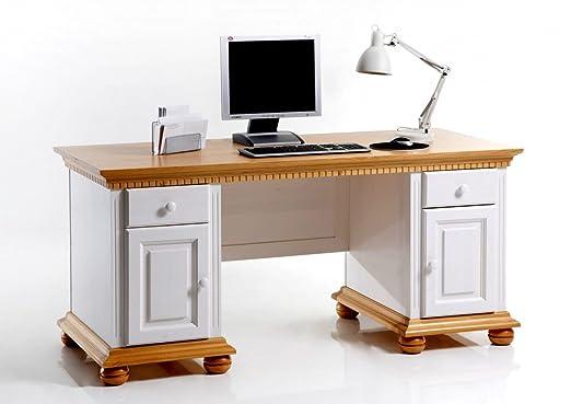 Schreibtisch Computertisch Arbeitstisch Buro Fichte massiv weiss honigfarben