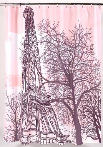 Carnation Home Fashions Tour Eiffel Fabric Shower Curtain