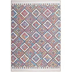 Andiamo 1100387 Flachflor Flachgewebe Teppich Lincoln Quadrate Rauten Muster Orient Design, 120 x 170 cm, bunt / weiß / orange / blau / lila