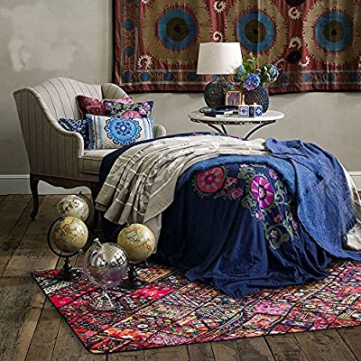 Wolala Home Bohemia Vintage Floral Ornament Rugs Modern Creative Fashion Ancient City Impression Bedroom Area Rugs