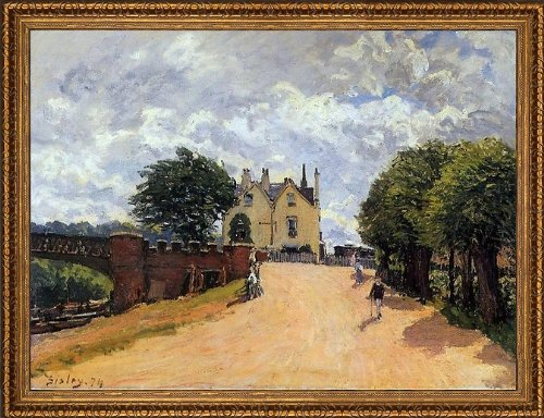 alfred-sisley-inn-at-east-molesey-with-hampton-court-bridge-215-x-285-framed-premium-canvas-print