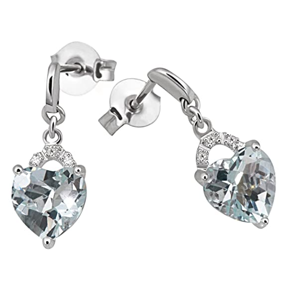 9ct White Gold Earrings with 2 Aquamarines and 6 Diamonds with 0.023 Carat by Goldmaid
