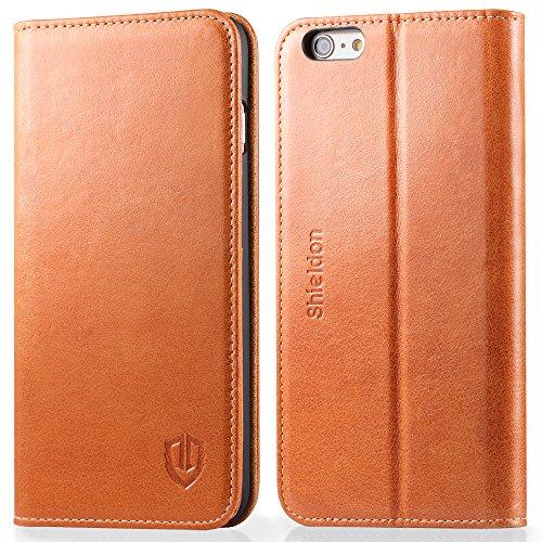 SHIELDON iPhone6s Plus / iPhone6 Plus 用 ケース 手帳型 レザー 財布型 カバー カードポケット スタンド機能付き マグネット式 5.5インチ対応 レトロブラウン