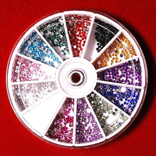 カラーラインストーン丸1.5mm12色セット 1800粒程度 クリアタイプ デコ ネイルアート